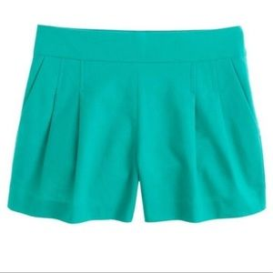 J. Crew Pleated Short in Structured Cotton Teal 6